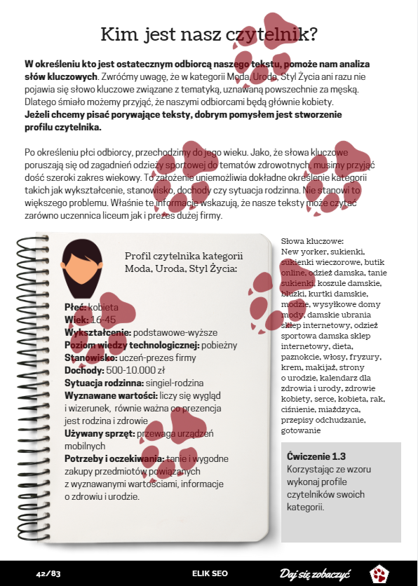 obraz przedstawiający stronę promocyjną z kursu pisania, dotyczącą tworzenia profilu czytelnika