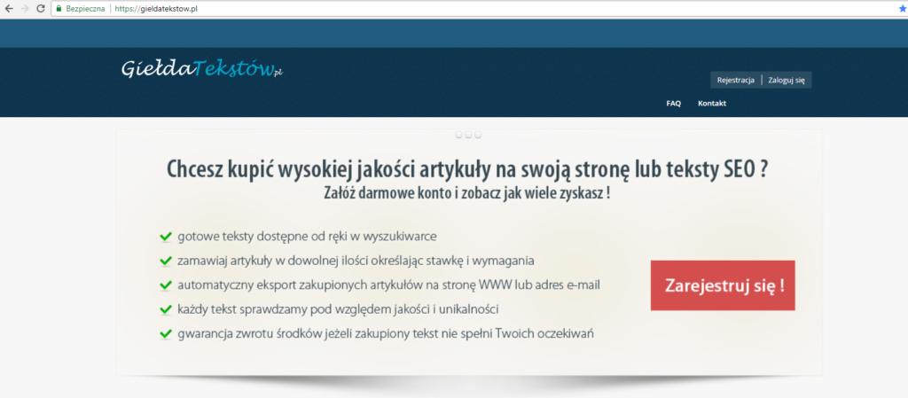 giełda tekstów obraz przedstawiający okno rejestracji