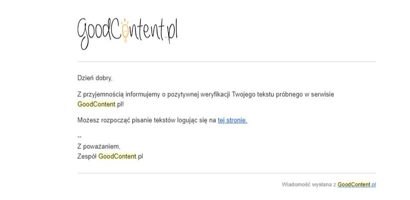 e-mail od goodcontent z akceptacją tekstu próbnego