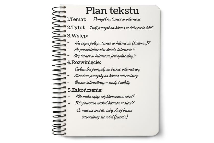 brak weny - wypełniony plan tekstu