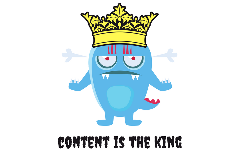 content marketing obraz przedstawiający zwrot content is the king
