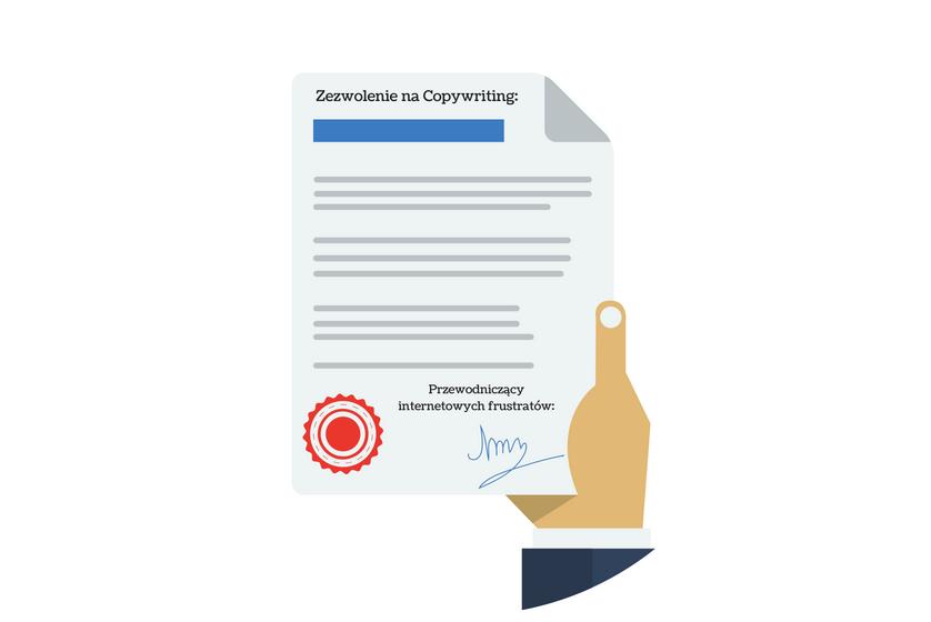 """obraz przedstawiający """"licencję"""" na copywriting"""