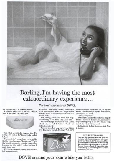 kreatywne pisanie w trakcie tworzenia reklamy mydła dove