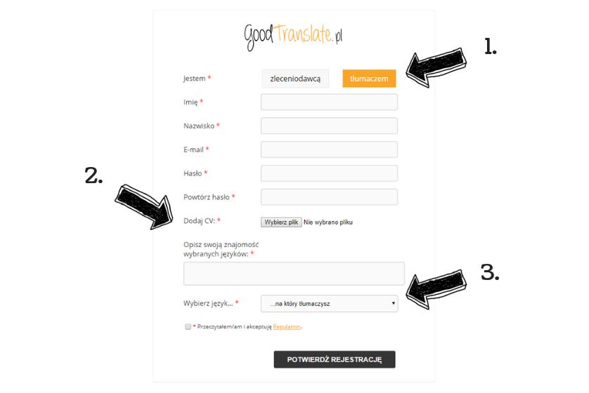 Goodtranslate opinie -obraz przedstawiający jak wygląda rejestracja konta