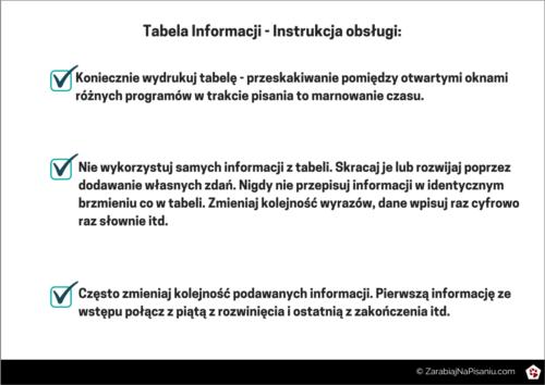 Obraz przedstawiający instrukcję obsługi do tabeli informacji