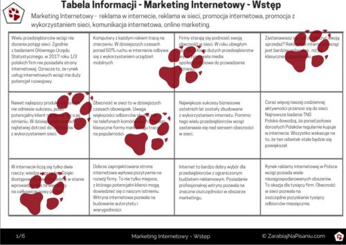 Obraz przedstawiający pierwszą stronę tabeli informacji - marketing internetowy.
