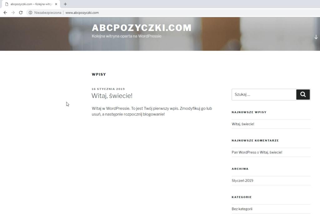 Obraz przedstawiający jak zacząć prowadzić bloga z wykorzystaniem podstawowego motywu WordPress.