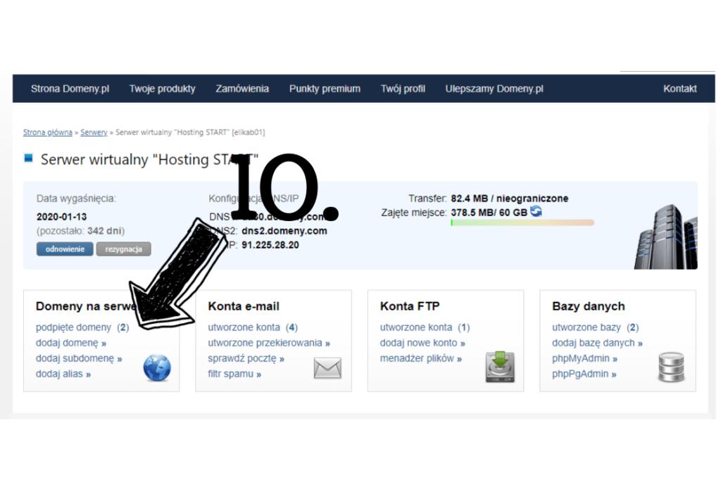 Obraz przedstawiający wybór domeny, na której ma zostać zainstalowany WordPress.