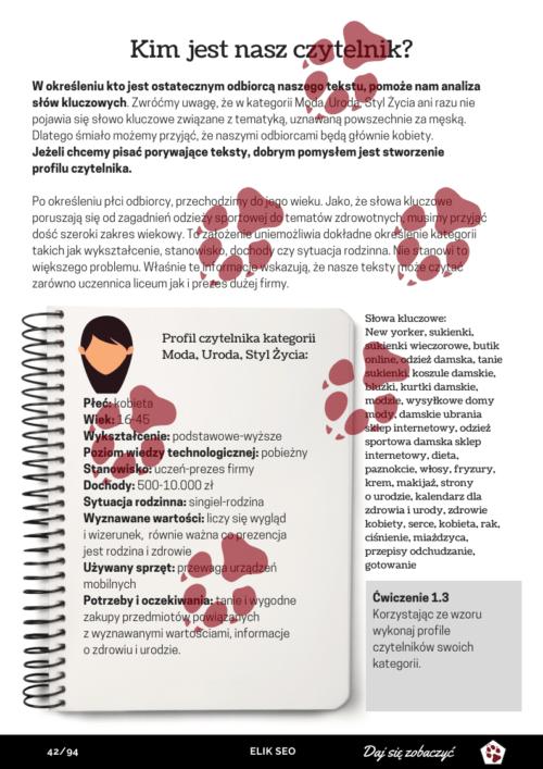 Obraz przedstawiający stronę przykładową z kursu copywritingu.