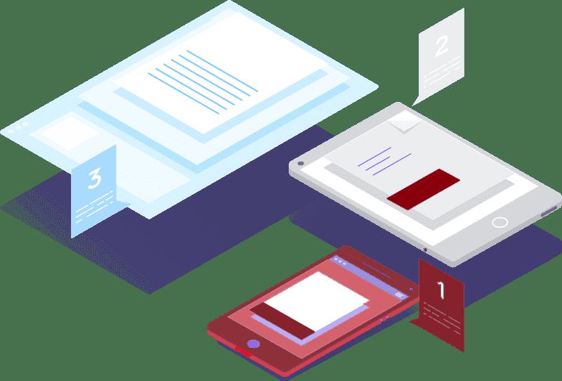 Obraz przedstawiający, na jakich urządzeniach można oglądać szkolenie z copywritingu.