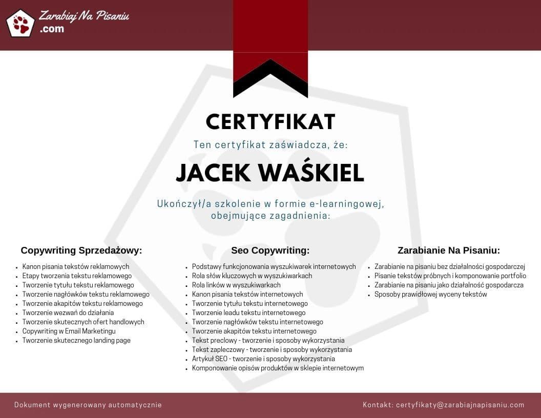 Obraz przedstawiający certyfikat ukończenia kursu copywritingu online.